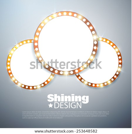 Shining retro circle banner. Vector illustration - stock vector
