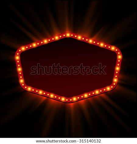 Shining retro light banner.  Vector illustration - stock vector