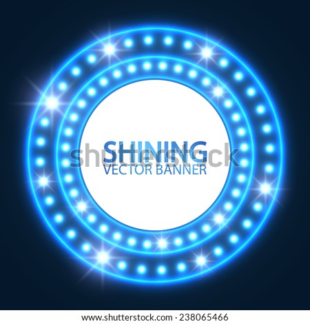 Shining retro light circle banner. Vector illustration. - stock vector
