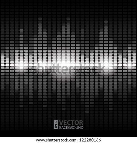 Shining silver digital equalizer background with flares. RGB EPS 10 vector illustration - stock vector