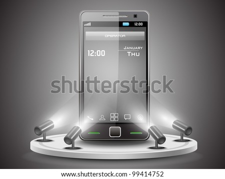 Shining Smartphone  on stand banner presentation  or template design, editable Vector Illustration in  EPS 10. - stock vector