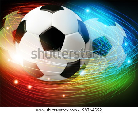 Shining soccer ball on abstract  background with lights and sparks.  Abstract soccer background. - stock vector