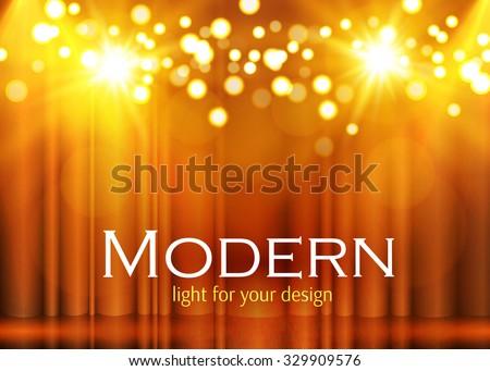 Shining Spotlights on Stage Curtain. Vector illustration  - stock vector