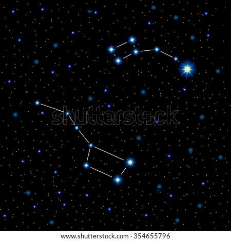 Shining stars and constellations in the night sky, vector illustration. Great bear and little bear, polar star in the night sky, realistic cosmos background