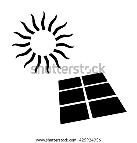 Shining sun and solar battery, alternative energy supply source. Icon of solar energy. Vector Illustration   - stock vector