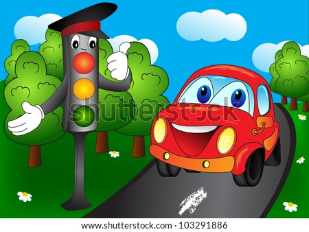 Shining traffic light and car in the forest road. Cartoon vector illustration on EPS 8 - stock vector