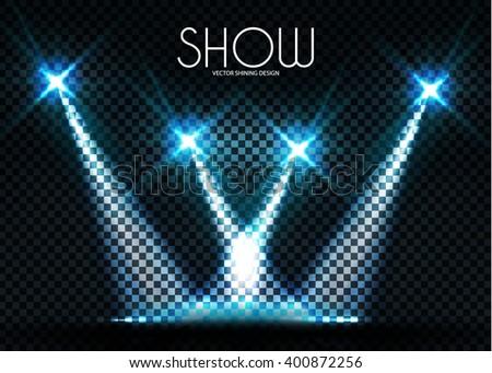 Shining Transparent Spotlights. Vector illustration - stock vector
