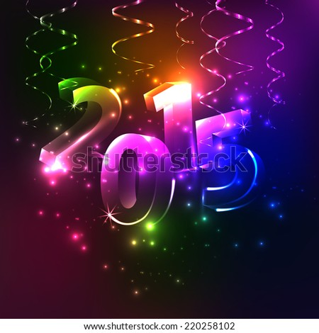 Shining Vector Happy New Year - 2015. Colorful background. Lights. Sign. Numbers. - stock vector