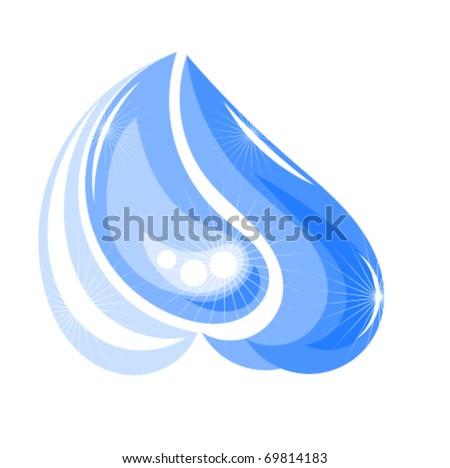 Shining water splash or drop. Vector illustration - stock vector