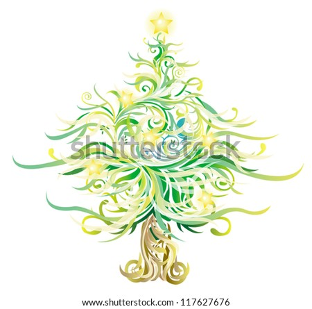 Shinny Christmas tree made with many curves and elements, create by vector. - stock vector