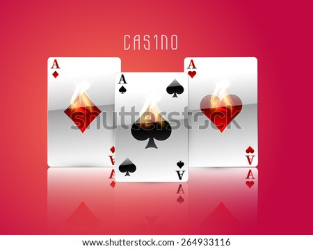 Shiny ace cards with flame on glossy red background for casino concept. - stock vector