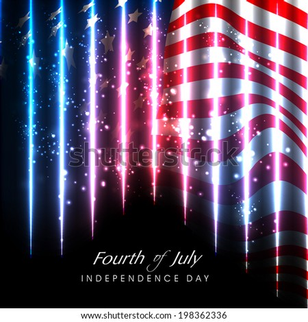 Shiny American Flag waving background for Fourth of July, American Independence Day concept.   - stock vector