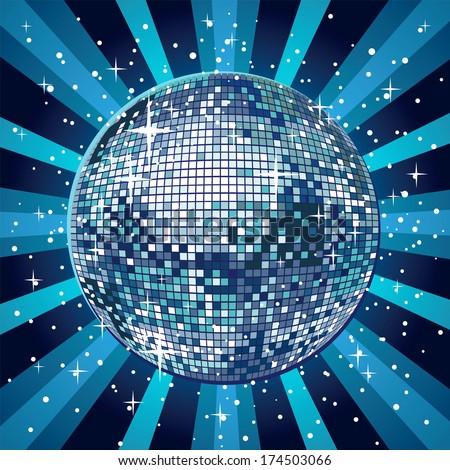Shiny and blue disco ball - stock vector