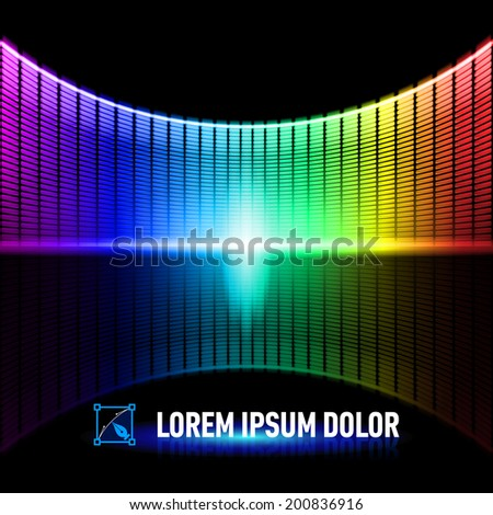 Shiny background with colorful digital music equalizer - stock vector
