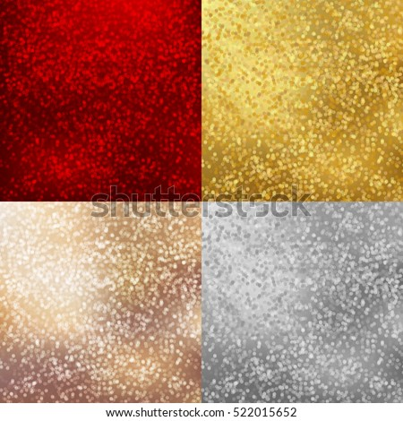 Shiny backgrounds set with sparkles and light effects. Gold, silver, bronze, red color. Merry Christmas and Happy New Year party invitation cards vector design EPS10