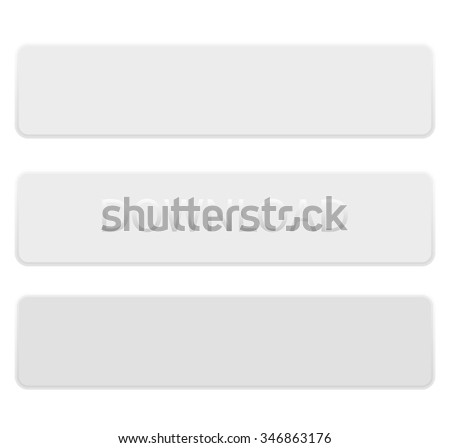 Shiny banner buttons, white rectangle horizontal oriented with different gloss reflections over, eps10 vector, color is easy to edit - stock vector
