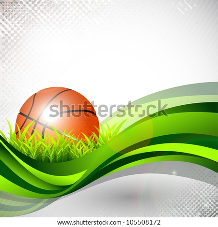 Shiny basketball in green grass on green wave and grungy grey abstract background. EPS 10. - stock vector