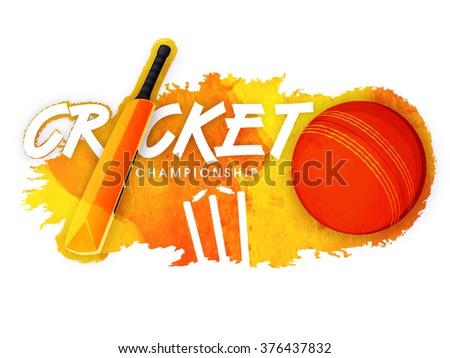 Shiny bat with ball and wicket stumps on stylish abstract background for Cricket Championship concept. - stock vector