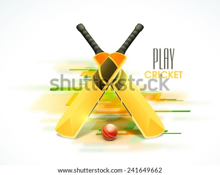 Shiny bats and red ball for Cricket on colorful abstract background. - stock vector