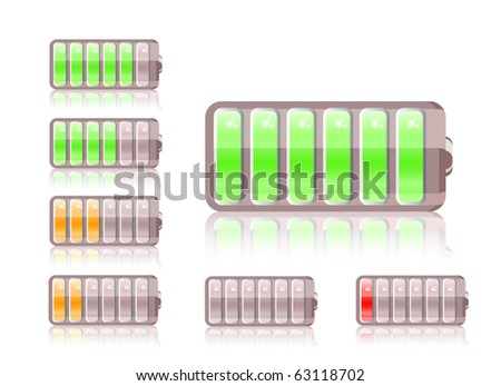 shiny battery icon set isolated on white background - stock vector