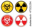 Shiny biohazard and radioactive warning signs and symbols. - stock vector