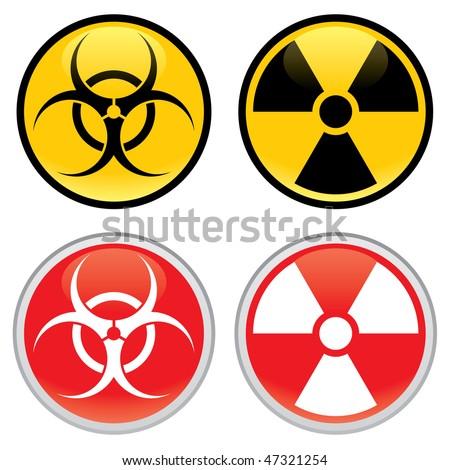 Shiny biohazard and radioactive warning signs and symbols. - stock vector