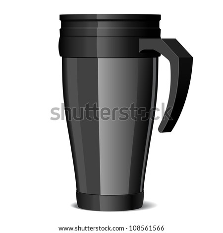 Shiny black Metal travel thermo-cup vector - stock vector