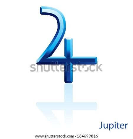 Shiny blue Jupiter sign on white background.  - stock vector