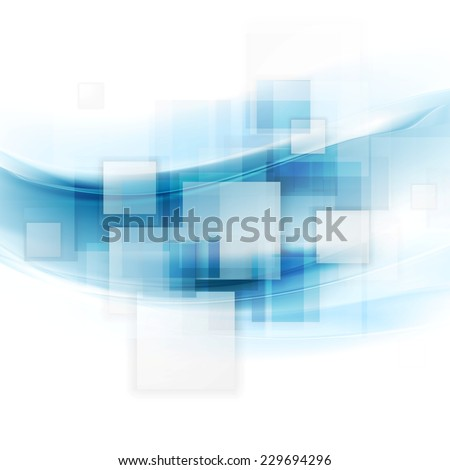 Shiny blue tech background with squares and waves. Vector design template - stock vector
