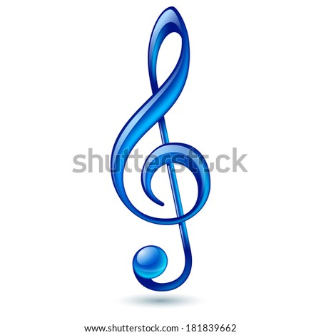 Shiny blue treble clef on white background - stock vector