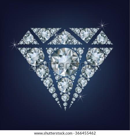 Shiny bright diamond symbol made a lot of diamonds - stock vector