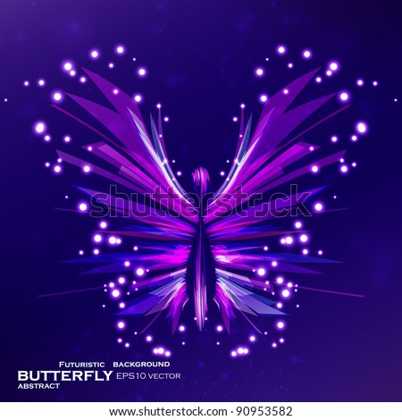 Shiny Butterfly abstract vector, futuristic colorful strip, stylish illustration eps10 - stock vector