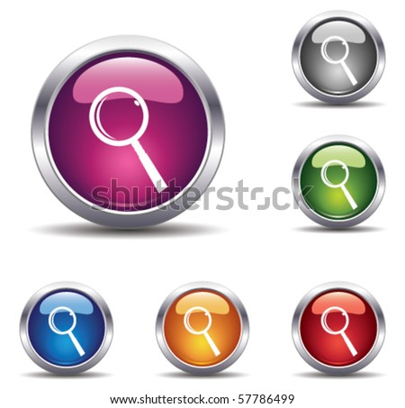 shiny buttons with magnifier - stock vector