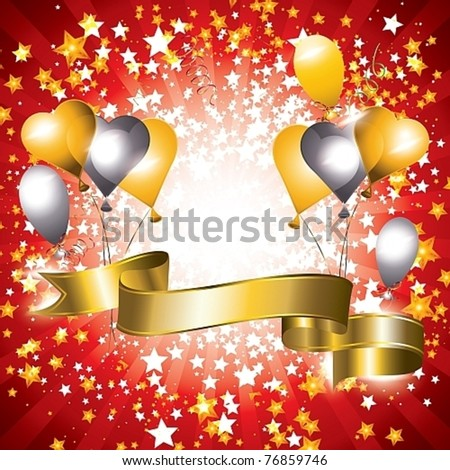 Shiny celebration banner with gold and silver balloons, vector illustration - stock vector