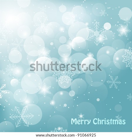 Shiny christmas background with snowflakes and greetings vector illlustration - stock vector