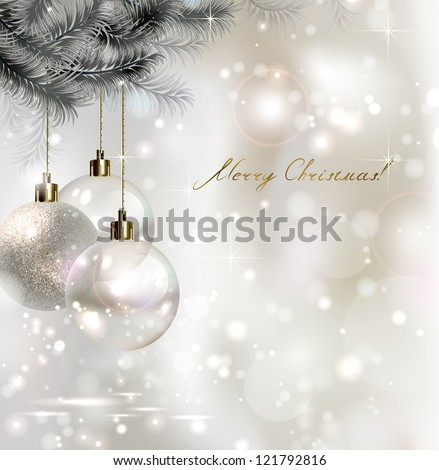 Shiny Christmas background with three evening balls - stock vector