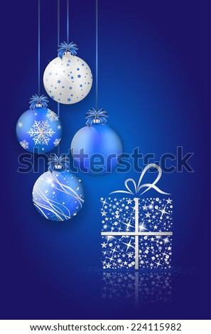 Shiny christmas balls and gift on blue background with place for your text. Vector illustration.