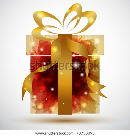 Shiny Christmas present with golden bow - stock vector