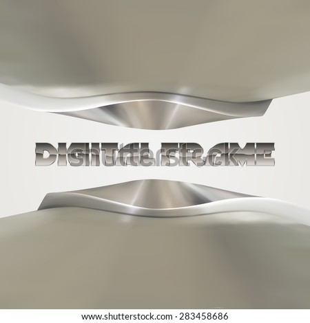 Shiny chrome metallic frame with abstract curves - stock vector