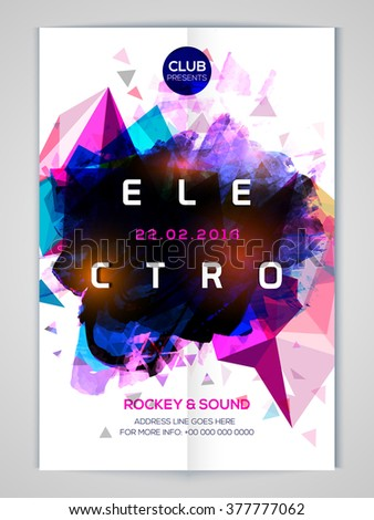 Shiny colorful abstract design decorated Flyer, Banner or Template for Electro Musical Party celebration.   - stock vector