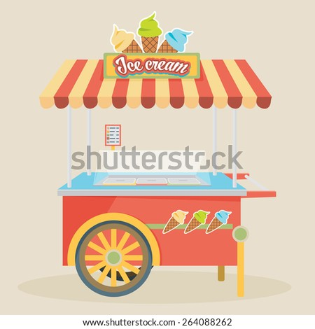 Shiny colorful ice cream cart vector illustration. Awesome creative concepts, icons, elegant stylish design graphic elements,beautiful art. - stock vector