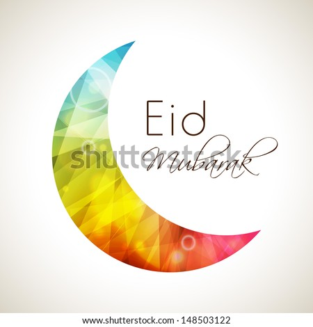Shiny colorful moon for Muslim community festival Eid Mubarak. - stock vector