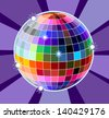 Shiny colourful disco ball - stock vector