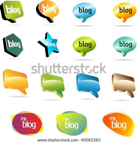 Shiny communication balloons - stock vector