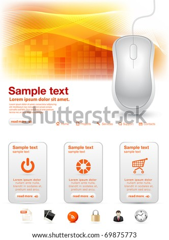 Shiny computer mouse website template - stock vector