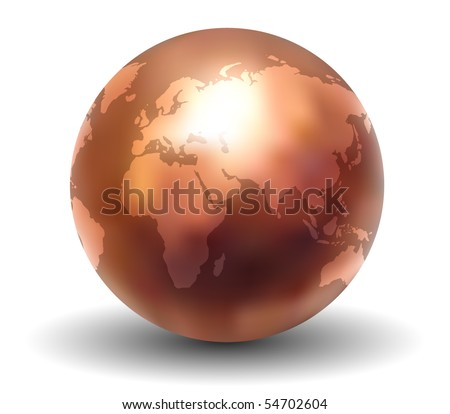 Shiny Copper Earth Globe (Vector) - stock vector