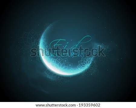 Shiny crescent moon with stylish text Eid Mubarak on blue background, can be use as flyer, banner or poster design for Muslim community festival. - stock vector