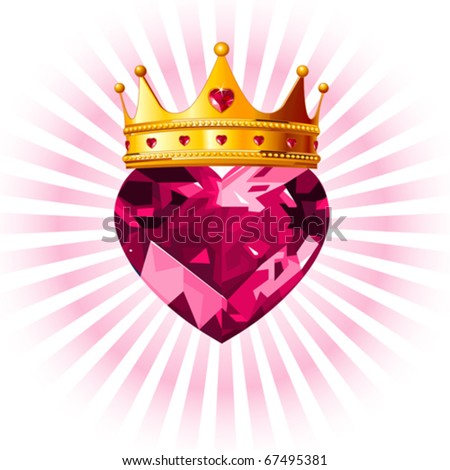 Shiny crystal love heart with princess crown  design - stock vector