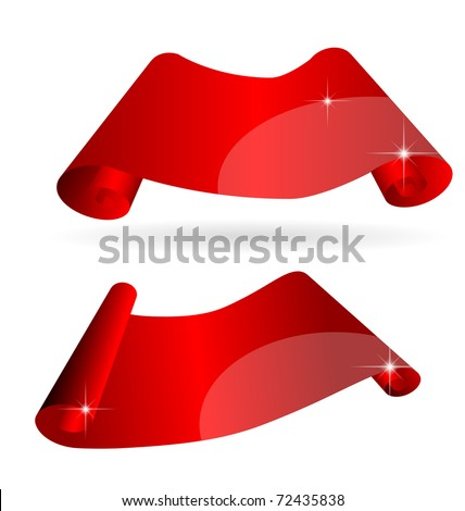 Shiny curvy red scroll paper with space for your copy, eps10 vector - stock vector