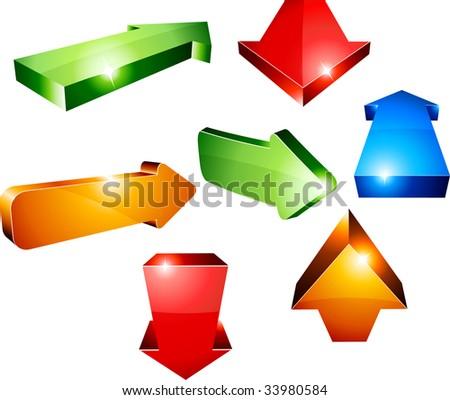 Shiny 3d arrows. Vector illustration. - stock vector